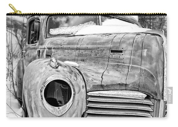 Old Hudson In The Snow Black And White Carry-all Pouch