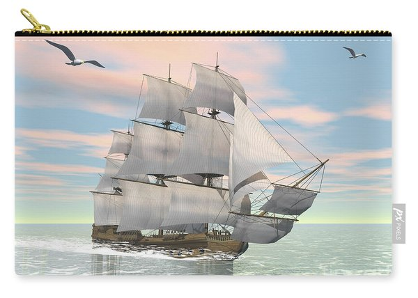Old Merchant Ship Sailing In The Ocean Carry-all Pouch