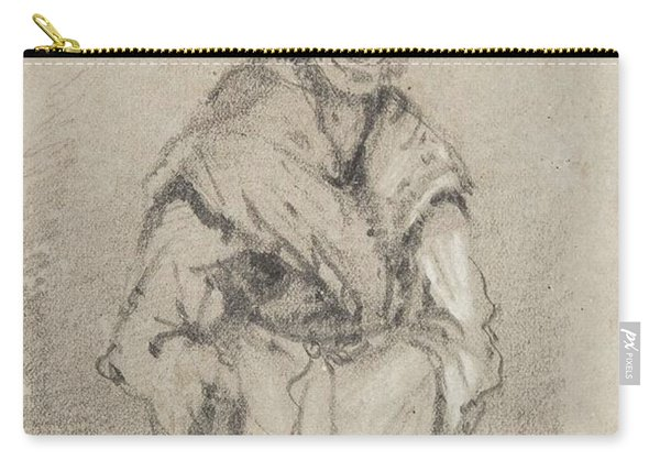 Old Woman From Normandy Full Face Pencil On Paper Carry-all Pouch