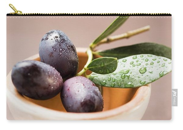 Olive Sprig With Black Olives In Terracotta Bowl Carry-all Pouch