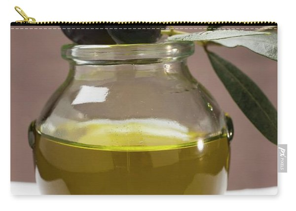 Olive Sprig With Black Olives On Jar Of Olive Oil Carry-all Pouch