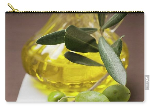 Olive Sprig With Green Olives, Carafe Of Olive Oil Behind Carry-all Pouch