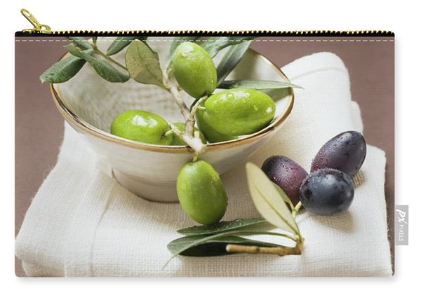 Olive Sprig With Green Olives In Bowl, Black Olives On Cloth Carry-all Pouch