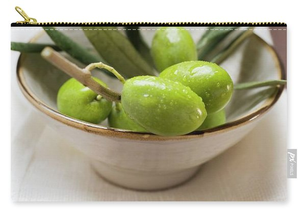 Olive Sprig With Green Olives In Bowl On Linen Cloth Carry-all Pouch