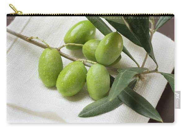 Olive Sprig With Green Olives On Linen Cloth Carry-all Pouch