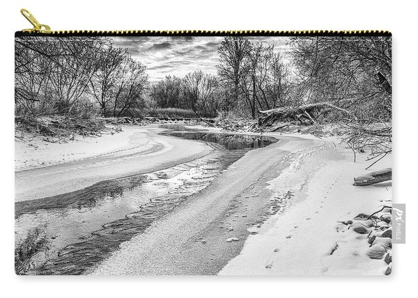 Carry-all Pouch featuring the photograph On The Riverbank Bw by Garvin Hunter