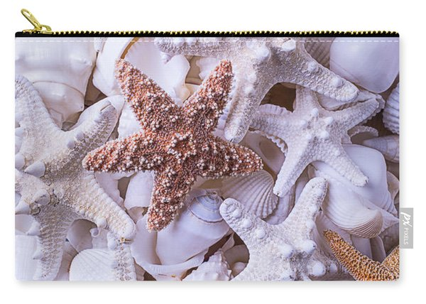 Orange And White Starfish Carry-all Pouch