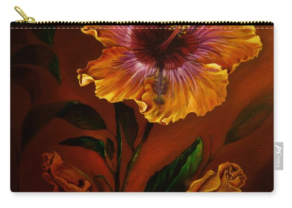 Orange Painted Hibiscus Carry-all Pouch