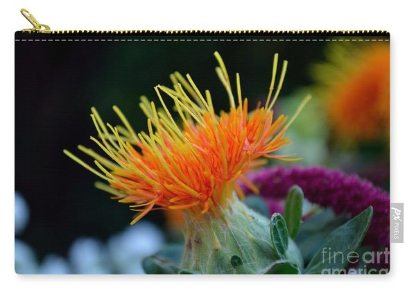 Carry-all Pouch featuring the photograph Orange Safflower by Scott Lyons