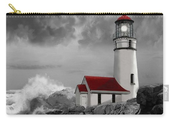 Oregon Lighthouse Cape Blanco In Black White And Red Carry-all Pouch