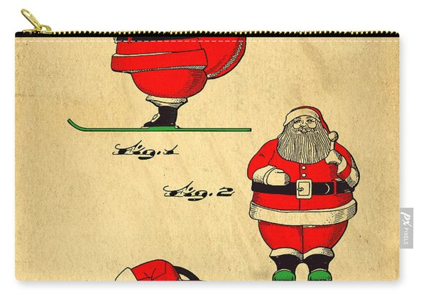 Original Patent For Santa On Skis Figure Carry-all Pouch
