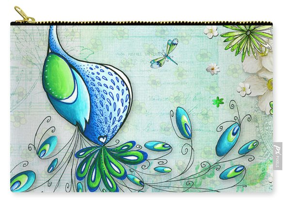 Original Peacock Painting Bird Art By Megan Duncanson Carry-all Pouch