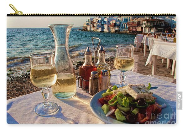 Outdoor Cafe In Little Venice In Mykonos Greece Carry-all Pouch