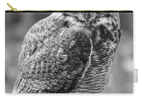 Owl In Black And White Carry-all Pouch