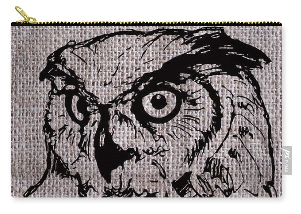 Owl On Burlap Carry-all Pouch