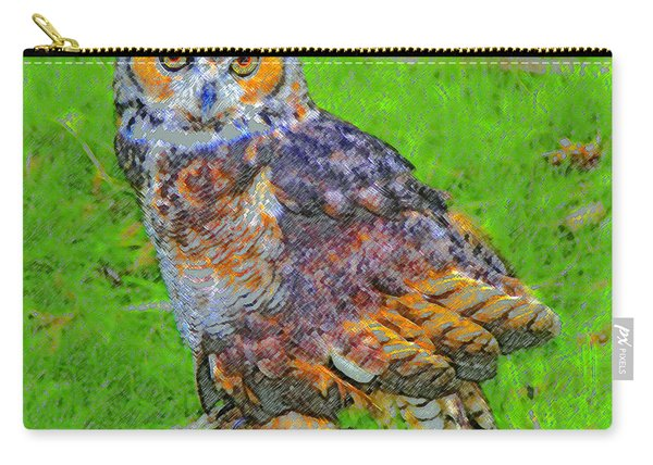 Great Horned Owl Work A Carry-all Pouch