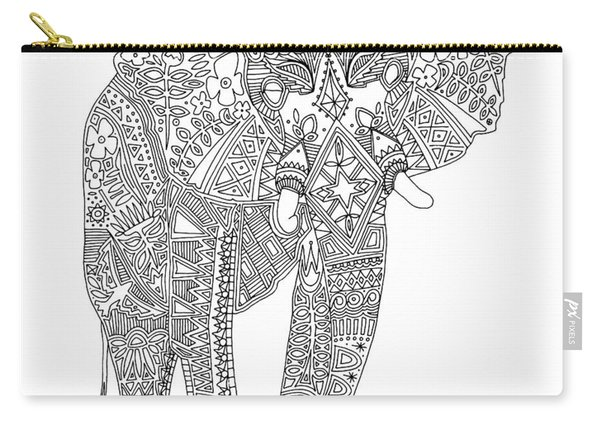 Painted Elephant Black White Carry-all Pouch