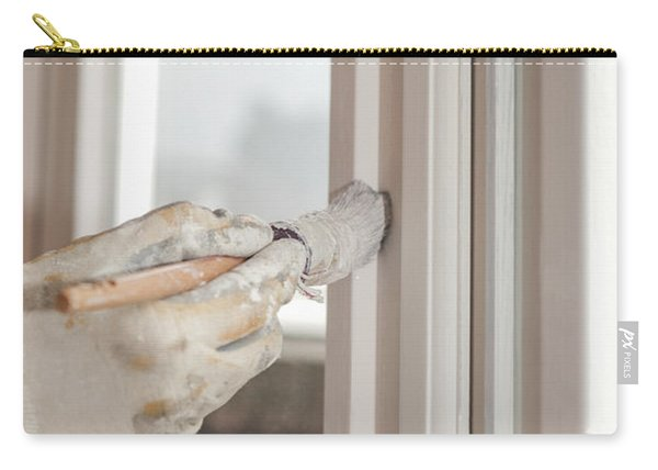 Painting A Window With White Carry-all Pouch