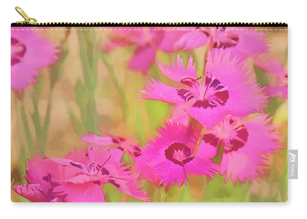 Painting Of Pink Flowers In A Garden Carry-all Pouch