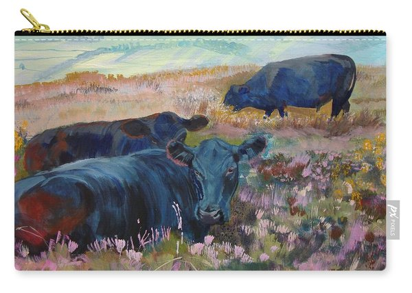Painting Of Three Black Cows In Landscape Without Sky Carry-all Pouch