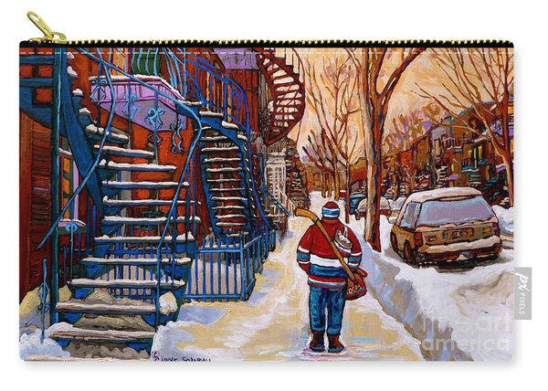 Paintings Of Montreal Beautiful Staircases In Winter Walking Home After The Game By Carole Spandau Carry-all Pouch