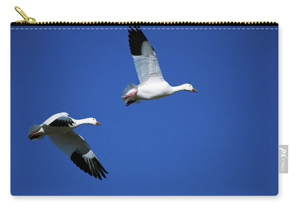 Pair Of Snow Geese Flying In Blue Sky Carry-all Pouch