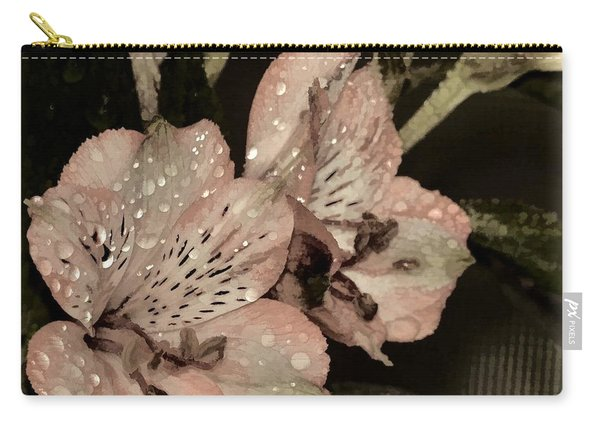 Pale Pink Lilies On Dark Background Carry-all Pouch