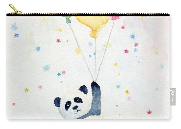 Panda Floating With Balloons Carry-all Pouch