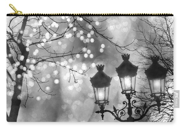 Paris Christmas Sparkle Lights Street Lanterns - Paris Holiday Street Lamps Black And White Lights Carry-all Pouch