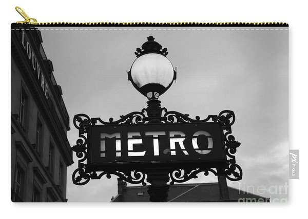 Paris Metro Sign Black And White Art - Ornate Metro Sign At The Louvre - Metro Sign Architecture Carry-all Pouch
