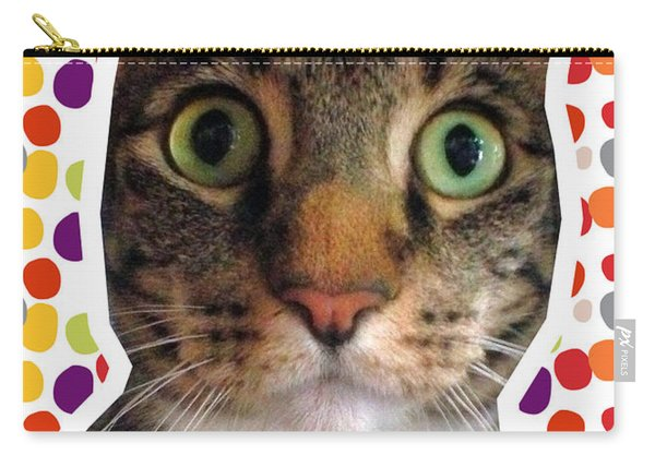 Party Animal- Cat With Confetti Carry-all Pouch