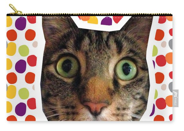 Party Animal - Smaller Cat With Confetti Carry-all Pouch
