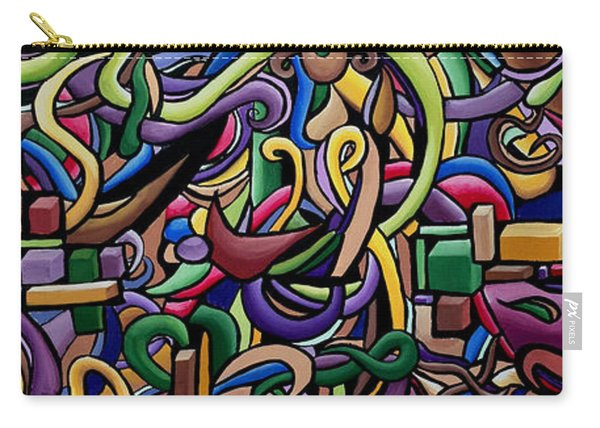 Colorful Abstract Illusion Artwork Painting, Cosmic Energy Flow Art, Music Frequency Carry-all Pouch