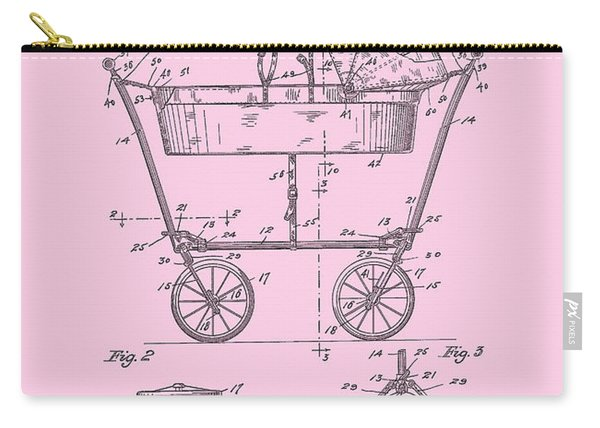 Patent Art Baby Carriage 1922 Mahr Design Pink Carry-all Pouch