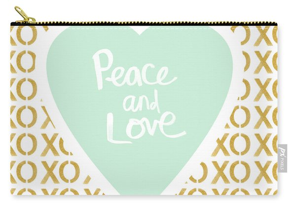 Peace And Love In Aqua And Gold Carry-all Pouch