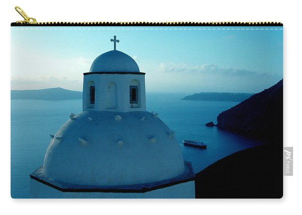 Carry-all Pouch featuring the photograph Peacefull Santorini Greek Island  by Colette V Hera  Guggenheim