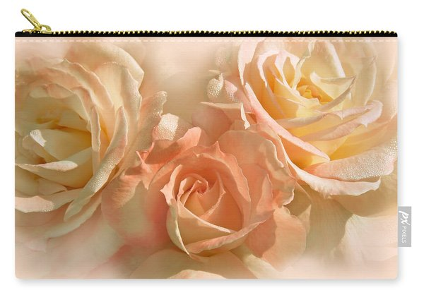 Peach Roses In The Mist Carry-all Pouch