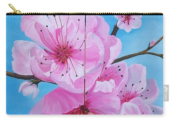 Peach Tree In Bloom Diptych Carry-all Pouch