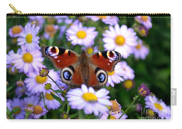 Carry-all Pouch featuring the photograph Peacock Butterfly Perched On The Daisies by Scott Lyons