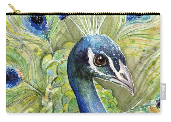 Peacock Watercolor Portrait Carry-all Pouch