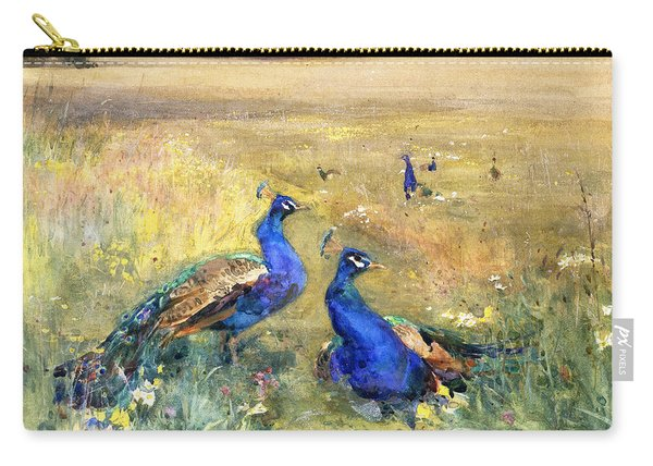 Peacocks In A Field Carry-all Pouch