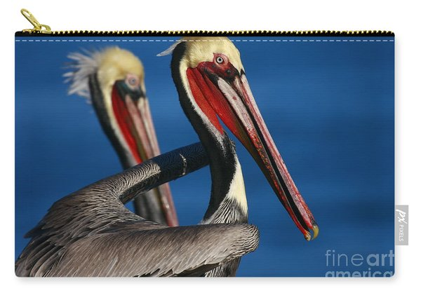 California Pelicans In Waves Carry-all Pouch