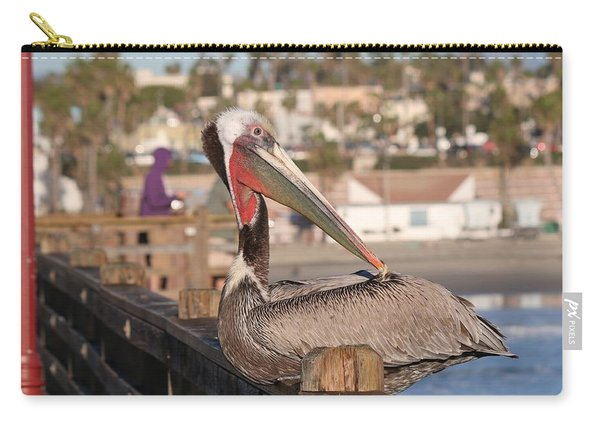 Pelican Sitting On Pier  Carry-all Pouch