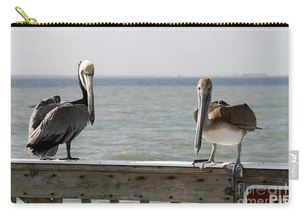 Pelicans On The Pier At Fort Myers Beach In Florida Carry-all Pouch