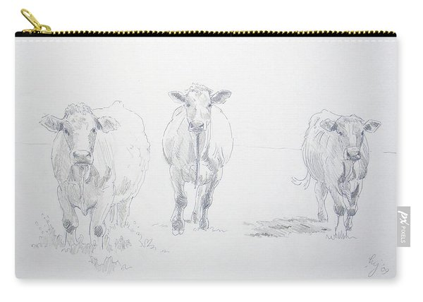 Pencil Drawing Of Three Cows Carry-all Pouch