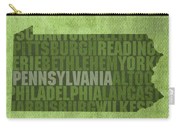 Pennsylvania Word Art State Map On Canvas Carry-all Pouch