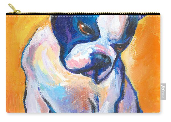 Pensive Boston Terrier Dog  Carry-all Pouch