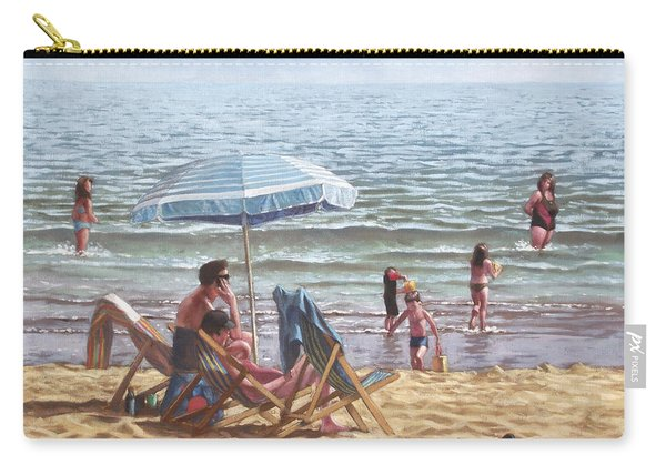 Carry-all Pouch featuring the painting People On Bournemouth Beach Parasol by Martin Davey