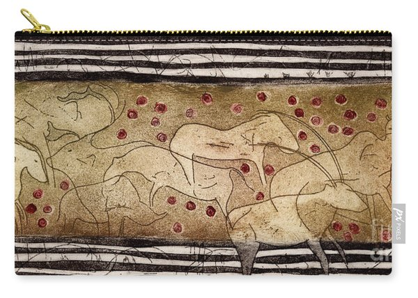 Petroglyph - Ensemble Of Red Dots And Short Strokes - Prehistoric Art - The Plains - Prarie Country Carry-all Pouch