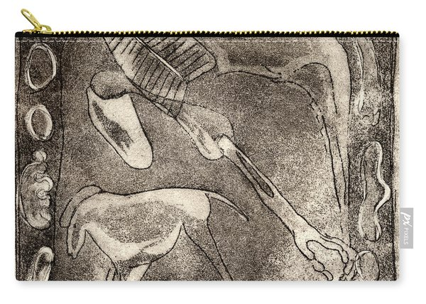 Petroglyph - Horse Takhi And Stones - Prehistoric Art - Cave Art - Rock Art - Cave Painters Carry-all Pouch